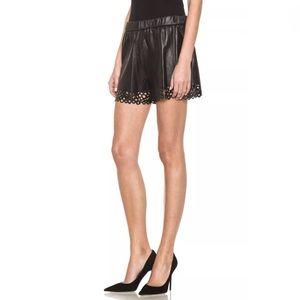 Diane Von Furstenberg Lambskin Shorts Black Petite